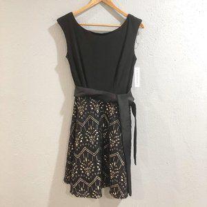 Shelby & Palmer   Black Lace Gold Detail Dress